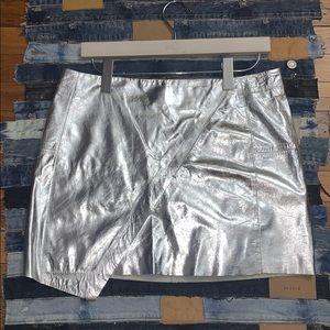 H&M Metallic Silver Leather Skirt ❤️